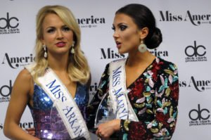 Miss Arkansas Savvy Shields, left, and Miss Maryland Hannah Brewer, right, speak with reporters after winning preliminary competitions on the second night of the Miss America pageant in Atlantic City, Wednesday, Sept. 7, 2016. Shields won the talent competition with a jazz dance, and Brewer won the swimsuit competition. The next Miss America will be crowned Sunday night. (AP Photo/Wayne Parry)