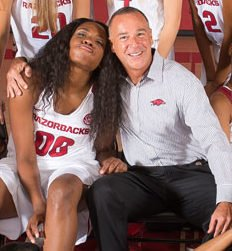 Coach Jimmy Dykes and starter Jessica Jackson in closeup taken from team picture above).