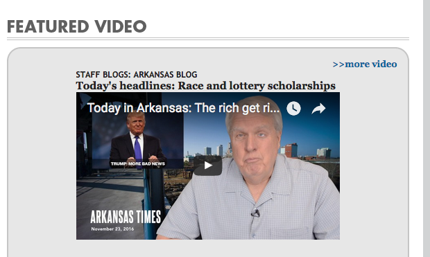 Max Brantley in screenshot from Arkansas Blog on Arkansas Times' website