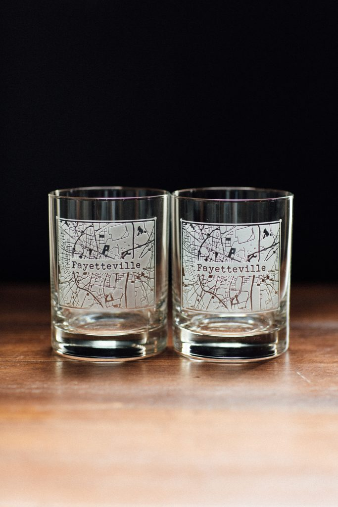 Fayetteville whiskey glasses from Bourbon & Boots