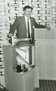 Paul W. Klipsch with the original corner, horn-loaded speakers, called the Klipschorn.