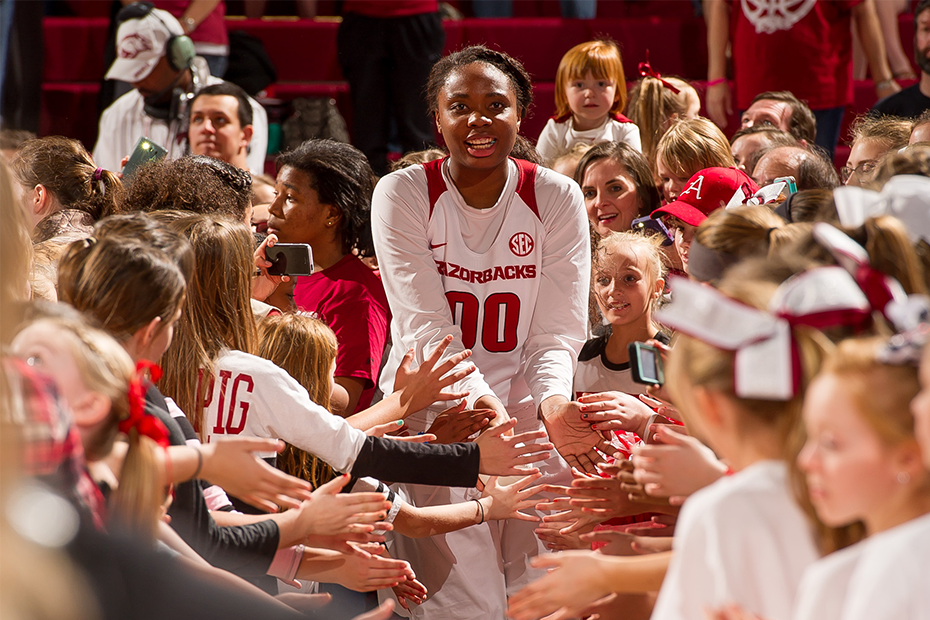 Jessica Jackson of Jacksonville, who started against Oklahoma Baptist University in the Razorback's exhibition game Thursday night, did not join her six teammates in kneeling during the National Anthem. (Photo by University of Arkansas)