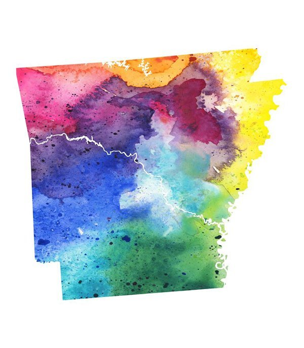 A highly detailed map of the US state of Arkansas with a multicoloured, rainbow hand painted watercolor texture. Map is isolated on a white background. Raster illustration.